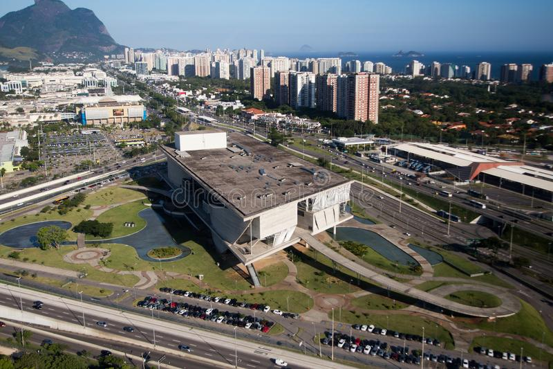 City of Music, Barra da Tijuca, Rio de Janeiro, aerial view. royalty free stock photo