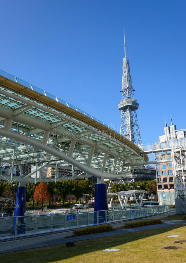 The City of Nagoya. In Aichi prefecture, Japan. These are the Nagoya TV Tower and Oasis 21 royalty free stock photos