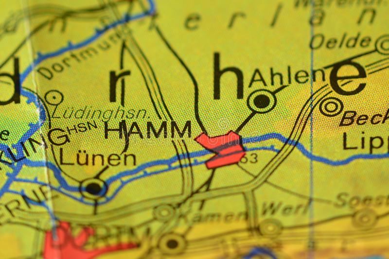 The word HAMM on the map stock photo Image of physical 106403916