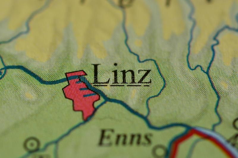 The word LINZ on the map stock image Image of graphic 106067347
