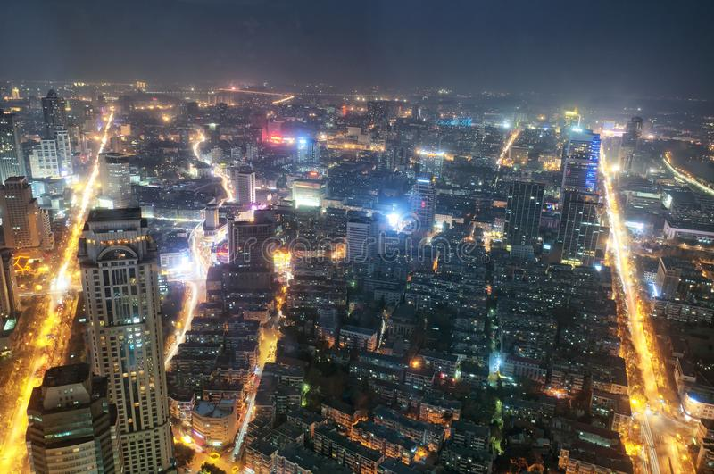 Nanjing china night view. The city of nanjing china lit up at night as seen from the top of zifeng tower royalty free stock images