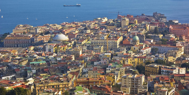 The city of Naples, Italy. A panoramic view of Naples, Italy stock photo