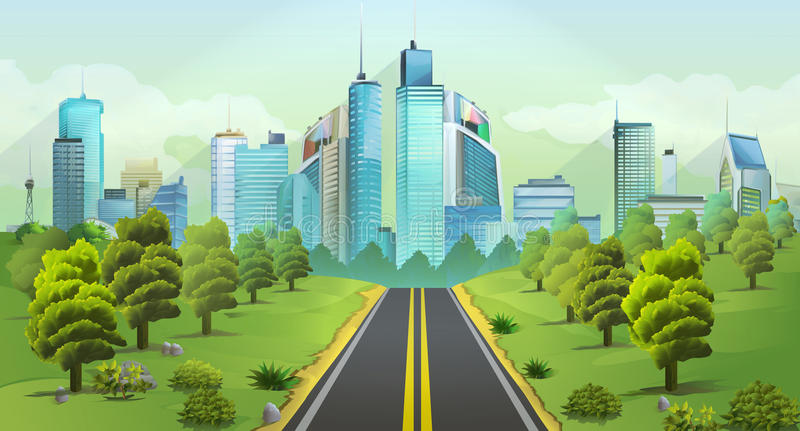 City and nature landscape vector illustration