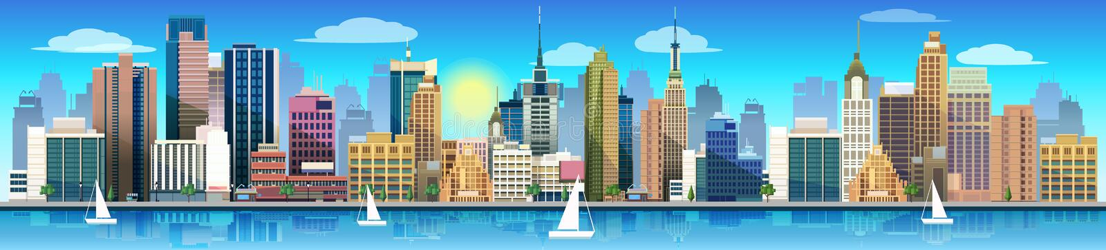 City and nature, vector landscape. Vector illustration stock illustration