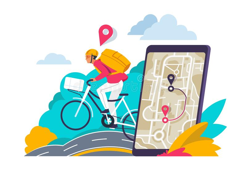 City navigation concept. Cartoon travelers looking for route in city map on smartphone or laptop. Vector GPS navigation. Illustration city directions for app stock illustration