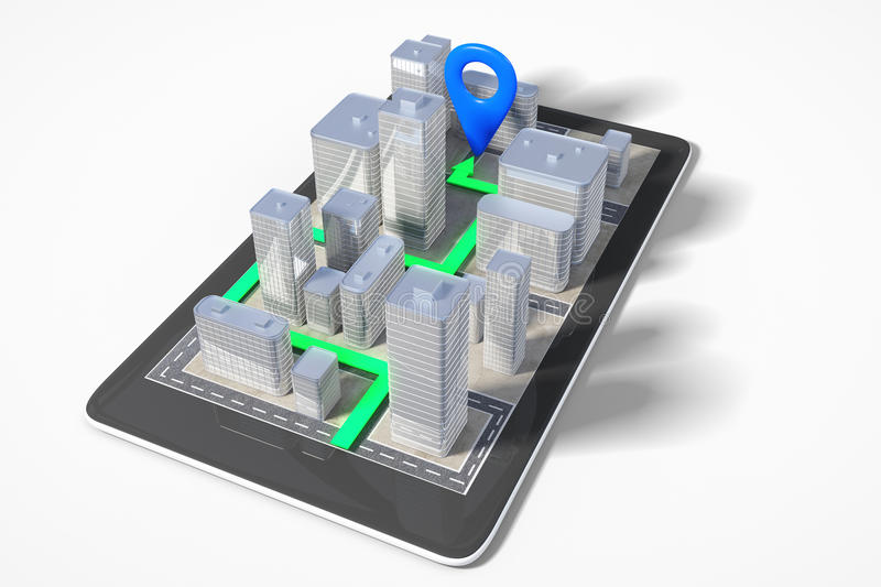 City navigation concept with cell phone with 3D buildings and pa stock illustration