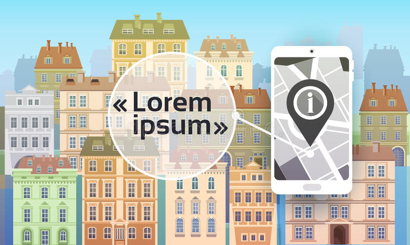 City Navigation Concept Cell Smart Phone With Gps Map Over Houses Buildings View stock illustration