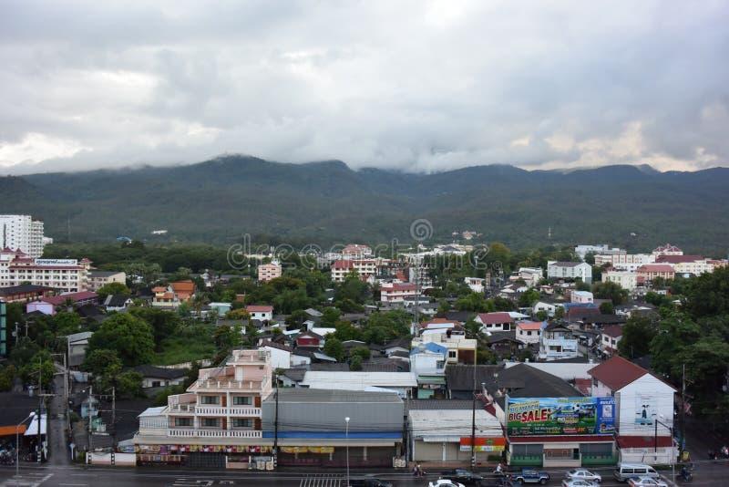 The city near the mountain royalty free stock photos