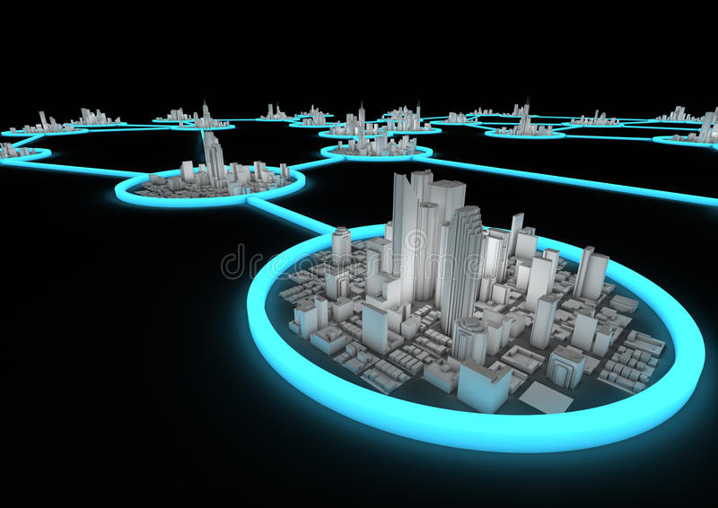 City network concept. Render of several connected cities in a network stock illustration