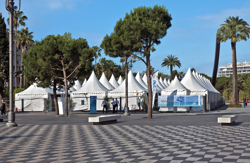 City of Nice - Exibition on the Place Massena stock photography