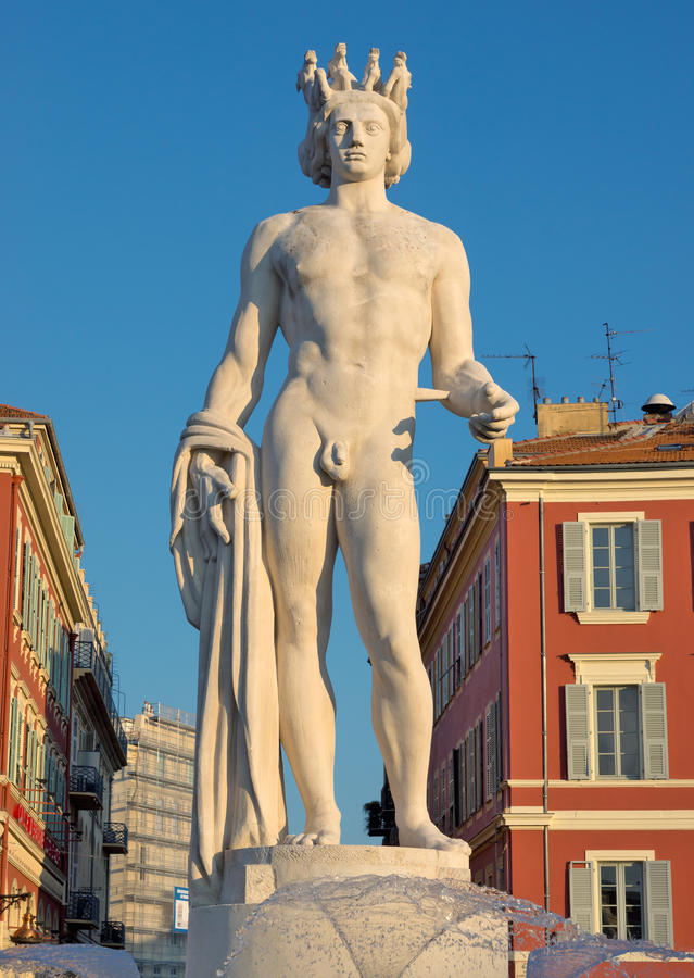 City of Nice - Fountain Soleil on Place Massena stock photography