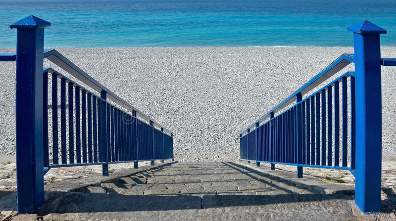 Download City Of Nice   Stairs To Beach Stock Photo   Image: 45125480