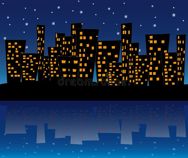 Download City in the night stock illustration. Illustration of night - 11042224