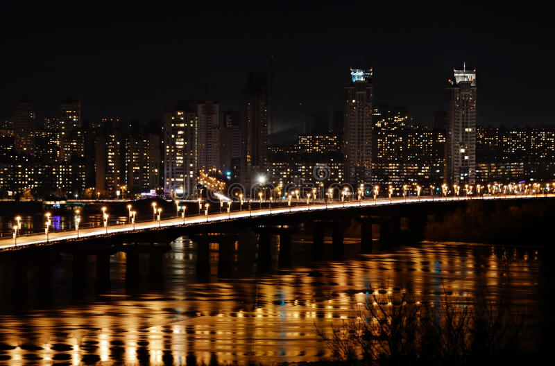 Download City At Night And Bridge With Lights Stock Photo - Image: 21503070