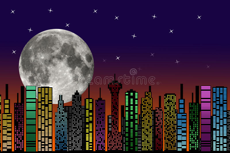 Download City At Night. Buildings Silhouette. Stock Illustration - Illustration: 35021864