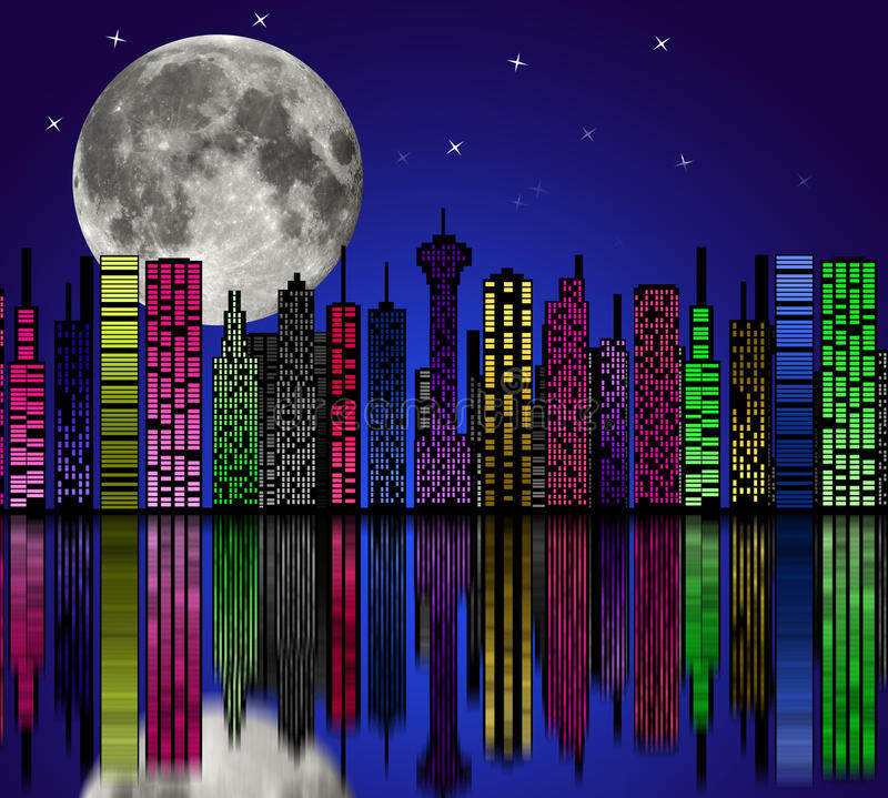 Download City At Night. Buildings Silhouette. Stock Illustration - Image: 35021911