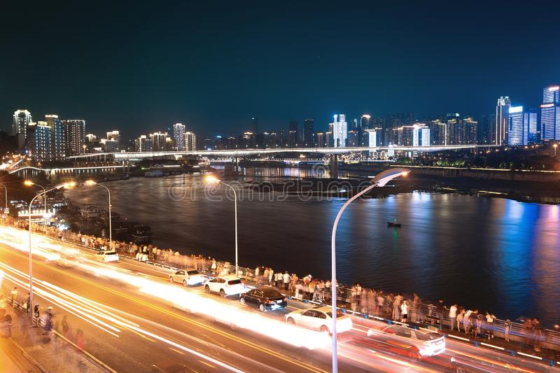 City at night in chongqing stock photography