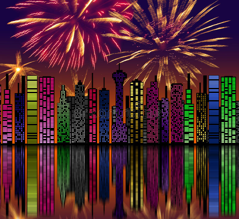 City at night. Fireworks on sky. Happy new year vector illustration