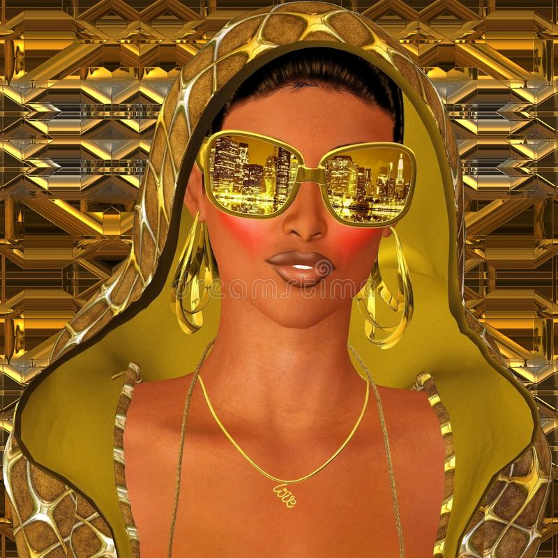 City night life, club girl stock illustration