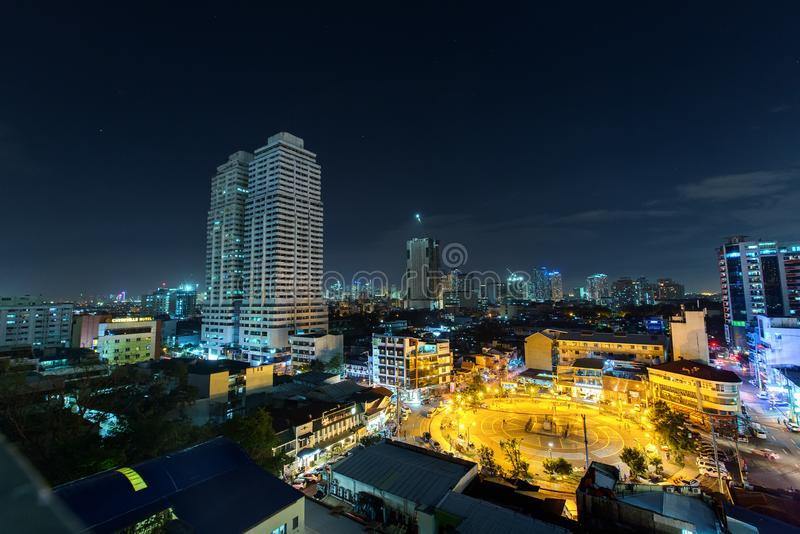 City in the night - Manila, Philippines stock photography