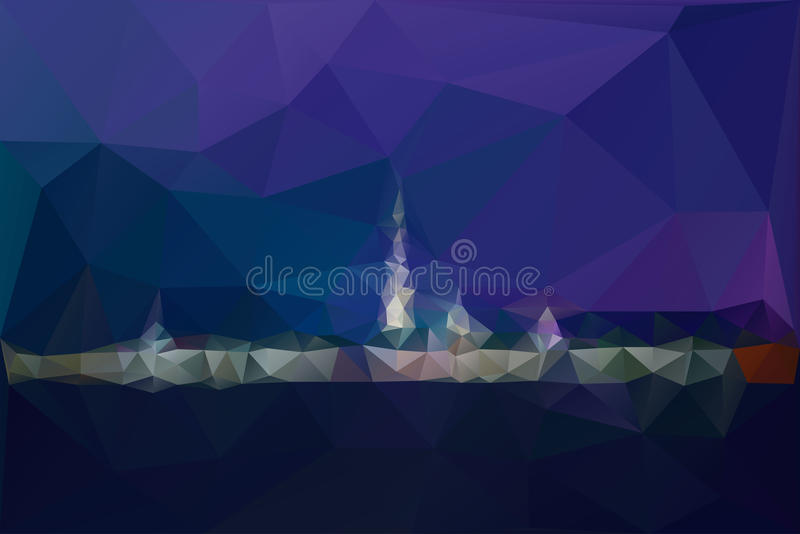 City night panorama with lamp lights vector background royalty free illustration