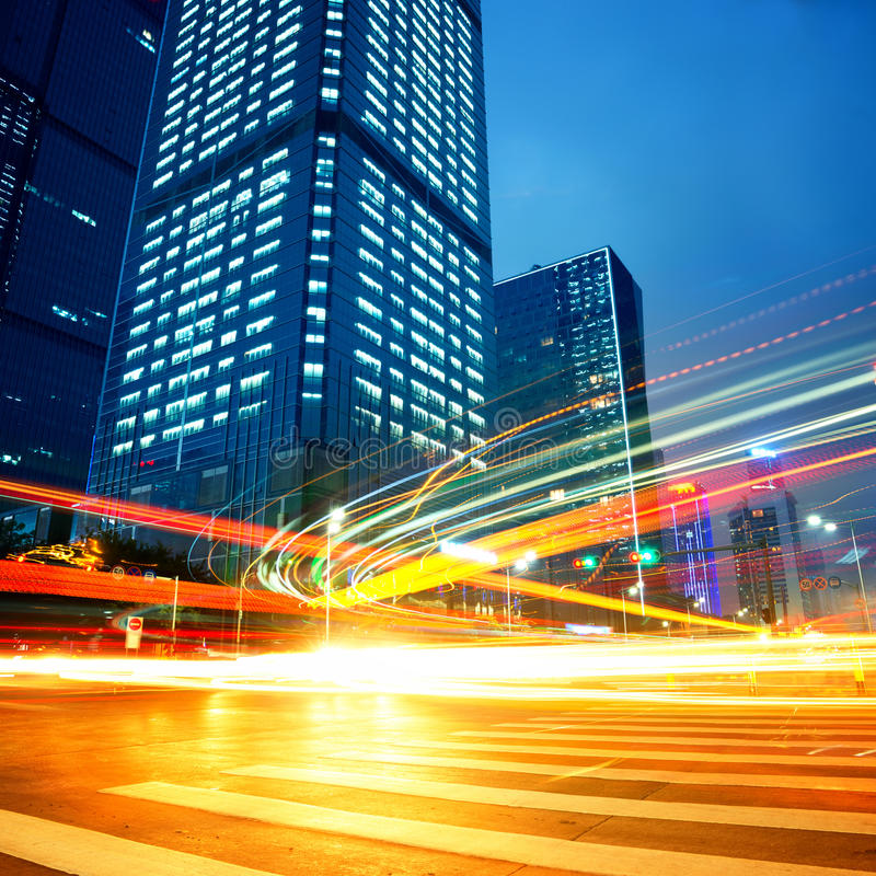 City at night. The city and the road at night stock photography