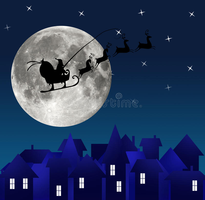 Download City At Night. Santa On Sky. Marry Christmas Stock Illustration - Illustration of peace, reindeer: 35021937