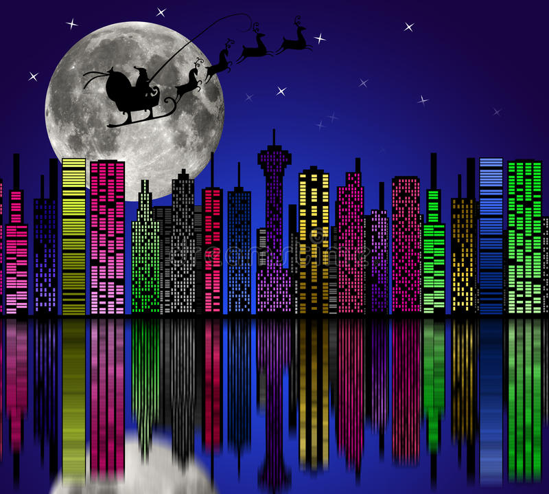 City At Night. Santa On Sky. Marry Christmas Royalty Free Stock Photos