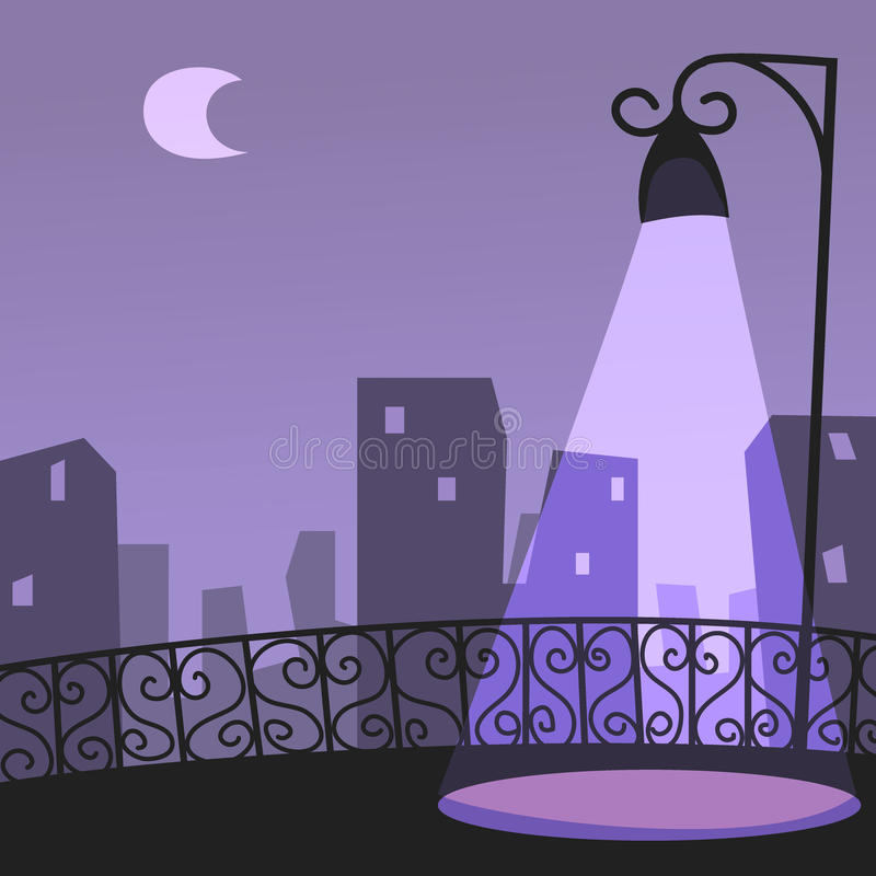 Download City night scene stock vector. Illustration of dark, streetlamp - 42385628