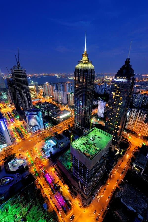 City night scene of Suzhou SIP stock photos