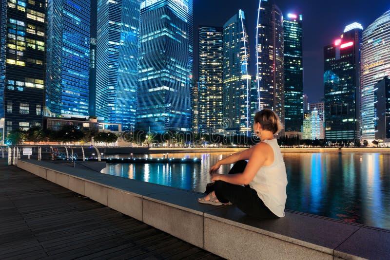 city night singapore στοκ φωτογραφίες