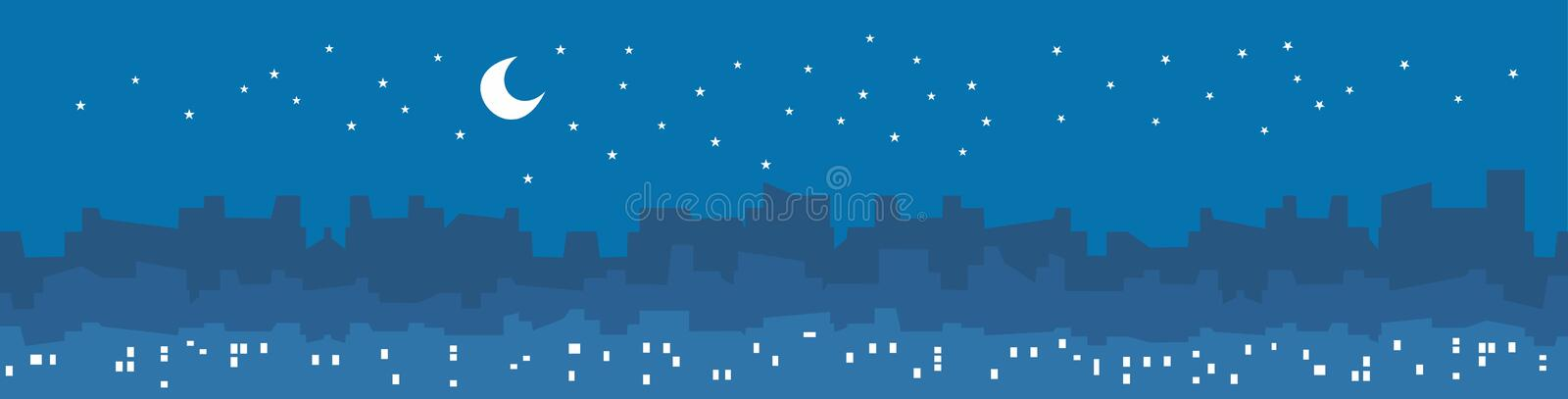 City by night vector illustration with skyscrapers, lights in windows, stars and moon. City by night vector illustration with skyscrapers and buildings stock illustration