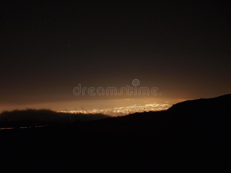 City night from the view point on top of mountain, Catania Italy stock image