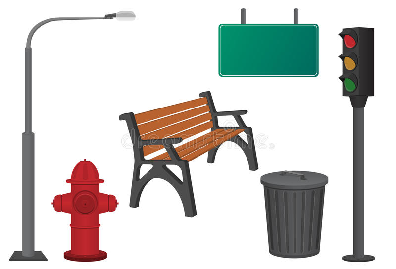 City objects vector illustration