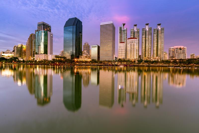 City office building with reflection with twilight sky royalty free stock photography