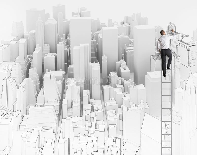 Sketch of an architect. City and office sketch of an architect