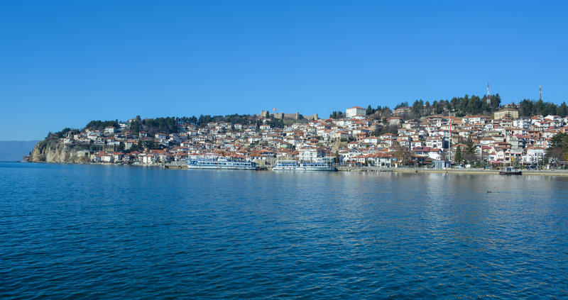 The city Ohrid at the Ohrid Lake. The city of Ohrid is an old town at the south west part of Macedonia, famous for the great number of churches in the city and stock photo