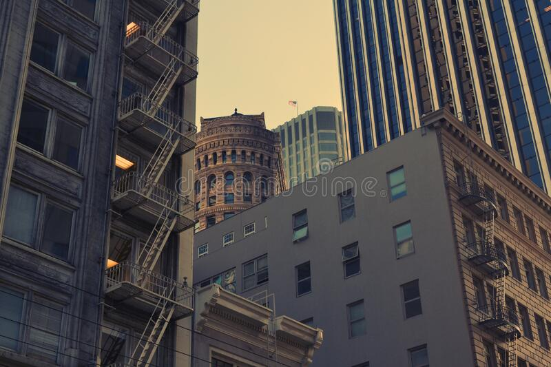 City with old and modern buildings stock images