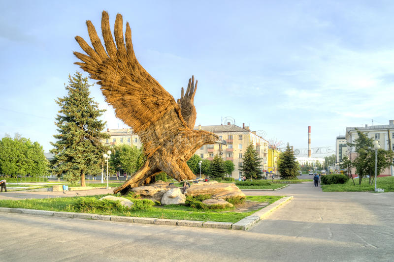 City Oryol. Sculpture of eagle royalty free stock image