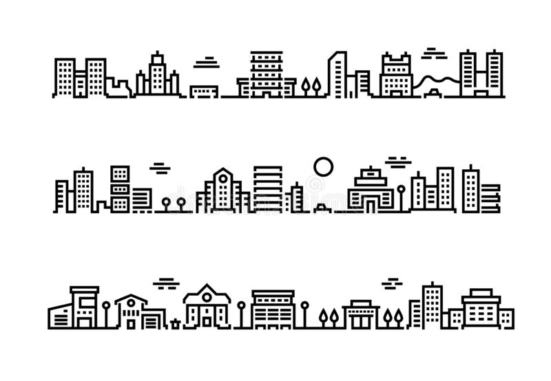 City outline landscape. Cityscape with business centers and offices skyscrapers public transport and cars. Suburban royalty free illustration