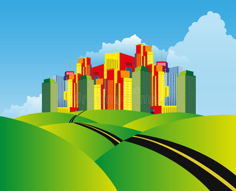 City Over The Hills Landscape royalty free stock photo