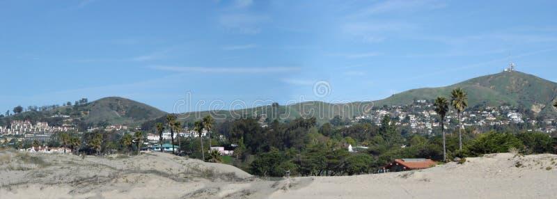 City of Oxnard, CA. City of Oxnard Mountain Housing as seen from Pacific Coast Beach royalty free stock photo