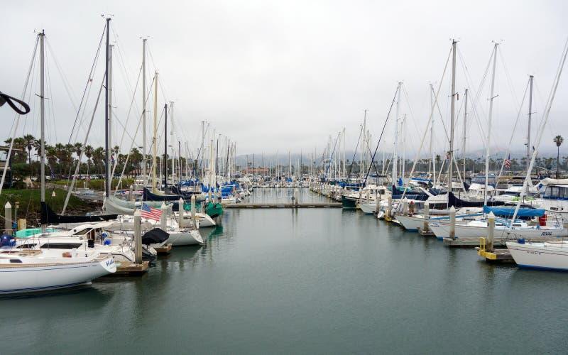 City of Oxnard Marina. OXNARD, CA, USA – JULY 4, 2013: Recreational boats at the dock in Oxnard marina ready for an open sea trip, Ventura county stock photo