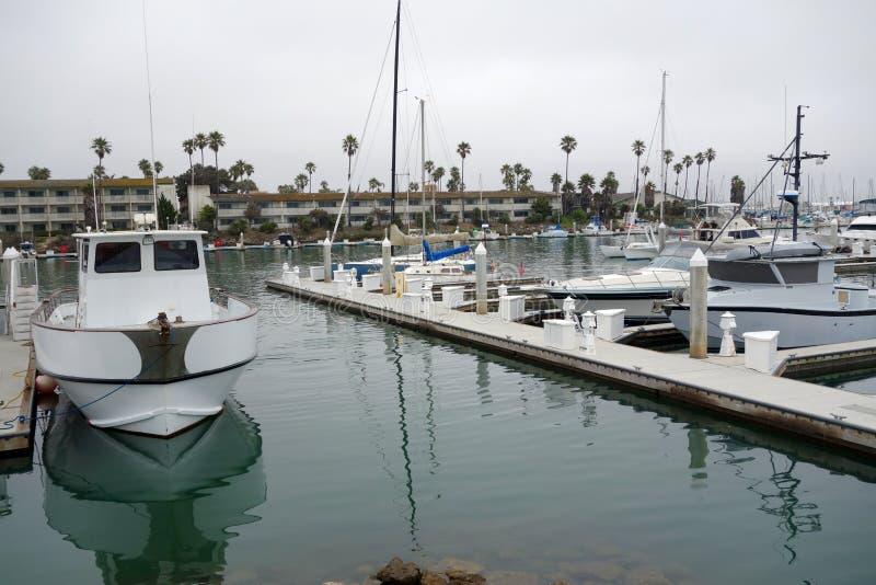 City of Oxnard Marina. Recreational and fishing boats at the dock in Oxnard marina, Ventura county, Southern California Pacific coast; copy space royalty free stock photography