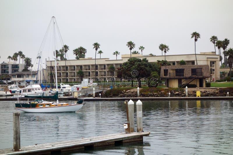 City of Oxnard Marina. Recreational and fishing boats at the dock in Oxnard marina, Ventura county, Southern California Pacific coast; copy space royalty free stock image