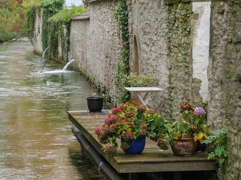 The city of paderborn in germany. And the pader river royalty free stock image
