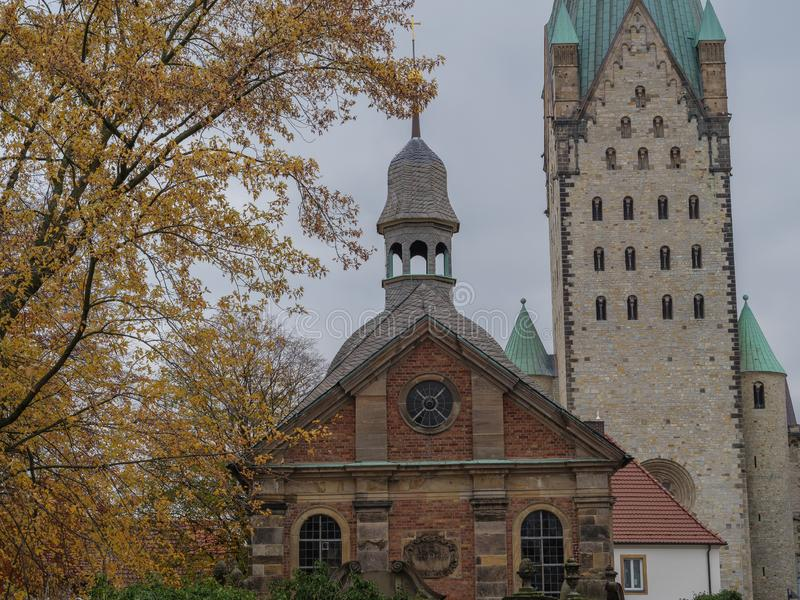 The city of paderborn in germany. And the pader river stock photo