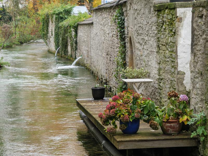 The city of paderborn in germany. And the pader river stock photography