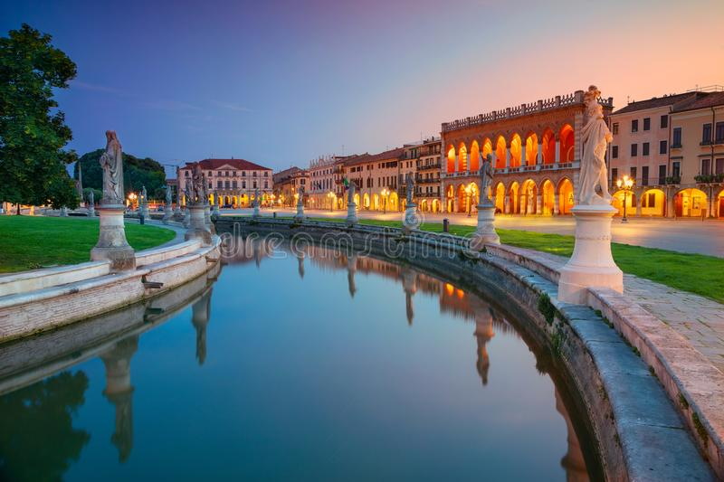 City of Padova, Italy. Cityscape image of Padova, Italy with Prato della Valle square during sunset stock photo