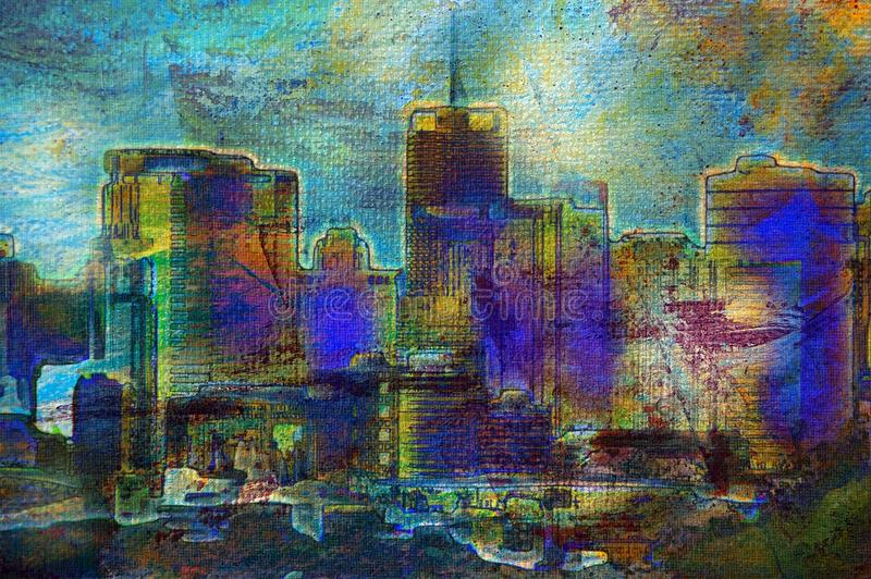 Download City paintings stock illustration. Image of handmade - 14253110